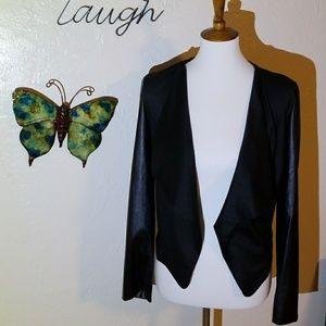 Black Faux Leather Sleeve Jacket